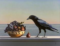 Still Life with Grapes, Figs and Crow - David Ligare
