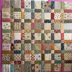 Scrappy quilt squares in 16 patch x bricks or cut bricks to size of 16 patch Amische Quilts, Colchas Quilt, Doll Quilt, Patch Quilt, Easy Quilts, Small Quilts, Mini Quilts, Quilt Blocks, Quilt Top