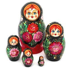 """Ukrainian Nesting Doll Matryoshka Petrykivka Floral - 5-pc 5"""""""