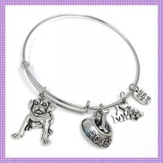 I Love My Dog Expandable Silver Wire Bangle NEW & PERFECT FOR ANY DOG LOVERWrapped Wire Bangle Bracelet with four dangling charms (Big Doggy, Rover Food Dish with Bone, I My Dog & Made With Love) Silver Alloy, Expandable to fit any size wrist. Absolutely Adorable, looks great worn alone or stack a few on your wrist! Boutique Jewelry Bracelets