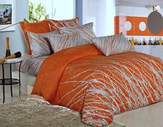 Swanson Beddings Tree Branches Cotton Bedding Set: Duvet Cover, Two Pillow Shams and Two Euro Shams (Orange-Gray, Queen) Orange Duvet Covers, 100 Cotton Duvet Covers, Orange Bedding, Bedroom Orange, Duvet Cover Sets, Grey Comforter Sets, Cotton Bedding Sets, Queen Bedding Sets, Luxury Bedding Sets