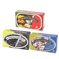 エルペスカドール(スモークドムール貝/アカイカのオイル漬け/イカのスミ煮)缶詰3種 | 新商品情報 | カルディコーヒーファーム