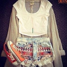Shorts: blouse, t-shirt, sweater, shoes, tribal pattern, hipster, high waisted short, summer, trendy, teen, aztec, denim, high waisted denim shorts - Wheretoget