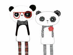 Kids Wall Art Kids Art  Panda Print  The Perfect pair by hiccupart, $25.00