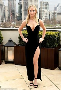 Incredible: The 27-year-old stunner looked incredible in the plunging black gown which boa... #jenniferlawrence