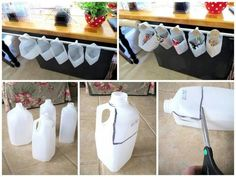 Repurpose empty, clean milk cartons as storage containers.