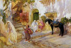 An Algerian Street  - Frederick Arthur Bridgman