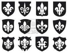 lily flower - heraldic symbol fleur de lis and medieval shields  royal french lily symbols for design and decorate, lily flowers collection, lily flowers set, shields set  Stock Photo