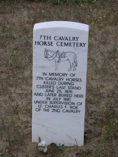 In memory of Cavalry horses killed at Little Big Horn battlefield.