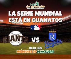Disfruta la Serie Mundial en nuestras pantallas: San Francisco vs Kansas City. #DeportesGuanatos #MLB #SerieMundial #Final #Beisbol #Deportes #Giants #Royals