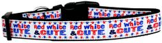 Collar Planet - Red White and Cute Adjustable Nylon Ribbon Dog Collar (http://www.collarplanetonline.com/red-white-and-cute-adjustable-nylon-ribbon-dog-collar/) #dogs Showing your patriotic pride that is perfect for your favorite four legged friend.