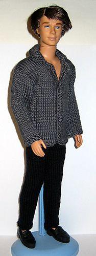 Ravelry: #0615 Gray sweater and black pants pattern by stickatillbarbie.se Barbie Patterns, Doll Clothes Patterns, Clothing Patterns, Crochet Barbie Clothes, Crochet Dolls, Pull Gris, Sweater Knitting Patterns, Crochet Patterns, Knitting Sweaters