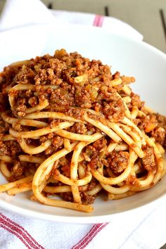 The Best Bucatini Bolognese you will ever eat! Full of flavor and rich texture, it's a labor of love that is so worth the effort to make for its comfort and enjoyment. Italian Pasta Recipes, Yummy Pasta Recipes, Italian Dishes, Greek Recipes, Dinner Recipes, Cooking Recipes, Dinner Ideas, Bucatini Recipes, Bucatini Pasta
