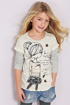 Girls Clothing Online - 3 to 16 years - Next Ecru Mock Sleeve Girl T-Shirt And Headband Set