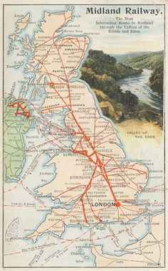Midland Railway and connections 1908 Railway Posters, Travel Posters, Network Rail, Pub, British Rail, Train Journey, Dundee, Print Ads, Newcastle