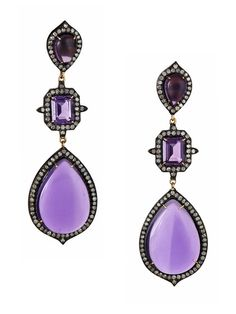 4ddf8d5574a Multi-Shape Amethyst   Diamond Triple Drop Earrings by J Hadley Hadley