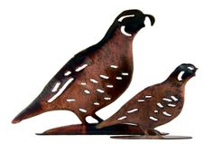 """Cute little quail make the perfect shelf accent or stocking stuffer!  Large metal quail are 7.75""""W x 7.5""""H.  Baby quail are 4.75""""W x 4.75""""H.  Large quail $20.00  Small quail $15.00"""