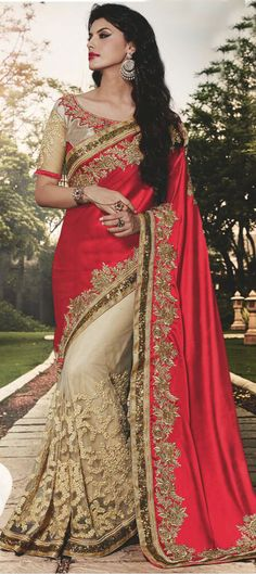 706994: Beige and Brown,Red and Maroon color family Embroidered Sarees,Party…