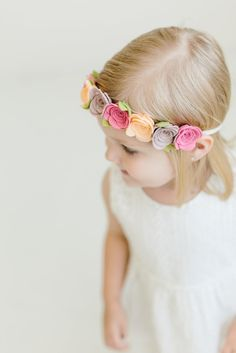 Felt Flower Crown! Perfect for little girl's first birthday parties, flower girl outfits, family photos and everyday play!