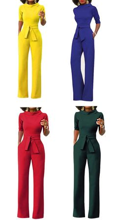 Women's Daily Simple Solid Turtleneck Jumpsuits