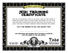 star wars birthday jedi training certificate printable dyi