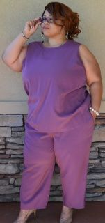"""Only Necessities Purple 2-Piece Pants Set Size 26  Women Petite Polyester Button Blouse: Width 28""""/Length 30"""" - Front chest pockets Pants:  Hips 28""""/Length 26"""" Note: This is 2-pieces of a 3-piece set, Jacket not included Stylish fashion"""