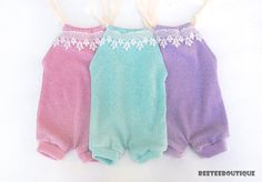 Mint Pink Purple  Romper Lace  Stretchy  Newborn by BeeTeeBoutique