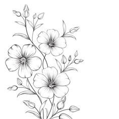 Flower Art Drawing, Flower Sketches, Floral Drawing, Drawings Of Flowers, Simple Flower Drawing, Beautiful Flower Drawings, Art Sketches, Hand Embroidery Patterns Free, Embroidery Flowers Pattern