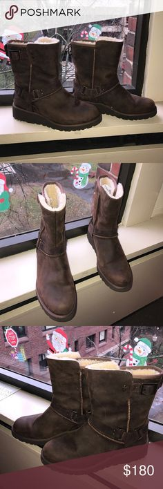 Ugg Winter Boots! NEVER BEEN USED!! This lovely and warm winter boots are perfect for walking in the rain or snow! They are water proof and have a lot of friction on the sole so you will be safe and comfy!! UGG Shoes Winter & Rain Boots