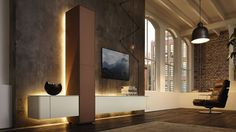 Buy Gentis Living Wall Units by Hülsta Studio from our designer Storage collection at Chaplins - Showcasing the very best in modern design. Tv Moderna, Tv Wanddekor, Lcd Units, Grey Interior Design, Tv Wall Decor, Grey Room, Piece A Vivre, Italian Furniture, Design Furniture