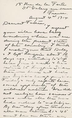 First page of McNicoll's letter from France describing the outbreak of the First World War and the mobilization of French troops. Letter from H. McNicoll to D. McNicoll, August 4, 1914, Helen McNicoll artist file, The Robert McLaughlin Gallery, Oshawa.