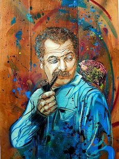 """C215 - """"Je me suis fait tout petit"""" Portrait of the French anarchist poet Georges Brassens"""""""