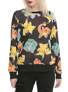 Pokemon Starters Girls Pullover Top, BLACK