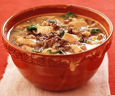 Cubes of leftover chicken or turkey get a second chance in this delicious slow cooked soup recipe.