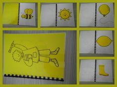 Kleurenboekje Geel. Een boekje vol met gele voorwerpen. Eenvoudig om zelf te maken: print kleurplaten af op gekleurd papier, knippen en plakken op wit papier, lamineren, inbinden en klaar! *liestr*