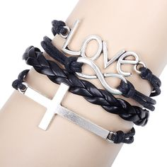 Free shipping Mix Infinity Love Leather Bracelets With Cross Charm Handmade Bracelet Bangles fashion Jewelry Pulseiras 8018