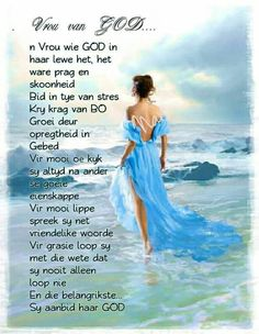 Vrou van God... Christian Messages, Christian Quotes, Bible Emergency Numbers, Goeie Nag, Goeie More, Afrikaans Quotes, Special Words, Living Water, Happy Birthday Greetings