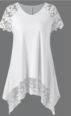 Raglan Sleeve Lace Trim Asymmetric Long T-Shirt - Wedding Dresses Mode Outfits, Fashion Outfits, Womens Fashion, Fashion Clothes, Fashion Site, Cheap Fashion, Casual Outfits, Fashion Stores, Women's Casual