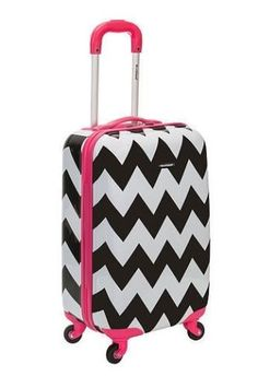 Carry On Luggage Spinner 20 Hardcase Girls Pink Black White Chevron Ro – LazyBreeze Deals