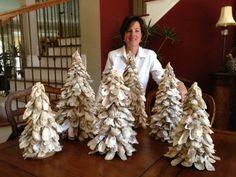 Oyster Shell Christmas Trees - 20 Tall, 16 Tall and 12 Tall Coastal Christmas Decor, Beach Christmas, Christmas Trees, Christmas Crafts, Christmas Decorations, Christmas Ornaments, Xmas, Seashell Painting, Seashell Art