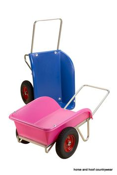 Performs as stable barrow and sack/ bale trolley with style. Rotationally moulded body is ultra tough stubbythene and steel reinfocred tipping edge. Unconventional but highly functional emptying of barrow by tipping over. Quick assembly involves five bolts and two spring clip. Bright zinc plated steel frame.