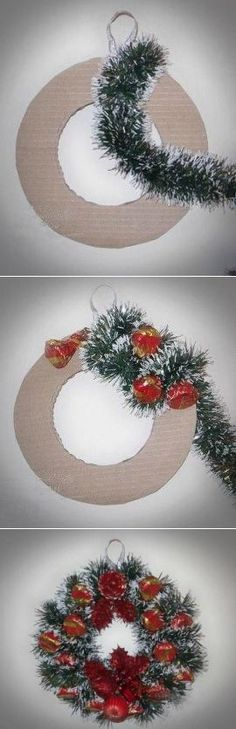 Weihnachten zum Selbermachen - desn - Dekoration - New Ideas Homemade Christmas Wreaths, Funny Christmas Ornaments, Diy Christmas Decorations Easy, Diy Christmas Tree, Simple Christmas, Christmas Crafts, Wall Decorations, Theme Noel, Diy Weihnachten