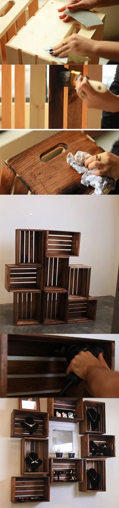 Wooden crate shelves diy home decor Trendy Ideas Wooden Crate Shelves, Diy Wooden Crate, Wooden Crates, Wood Shelves, Wooden Boxes, Easy Shelves, Milk Crates, Corner Shelves, Diy Pallet Projects