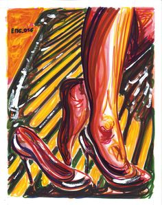 """Alla ringhiera"", watercolor marking pen, 140lb/300gsm - 28x35.6cm paper, 2016 author: ernesto maria giuffre' #painting #pen #art #woman #feet #heels #remove"
