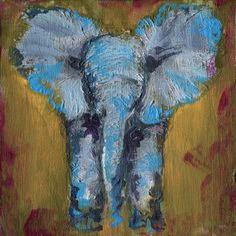 Elephant, ORIGINAL Acrylic Painting on wood