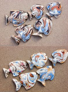 Set Of 5 Fish School Wall Decor Ceramic Sculpture Hanging Art Bathroom Living Room Kitchen Fly Fishing Gift For Him