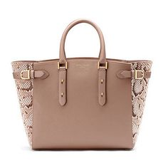28a28304f95a Marylebone Tote in Taupe Pebble  amp  Natural Python - Aspinal of London -  Luxury English
