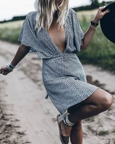 deep V neck summer dress.