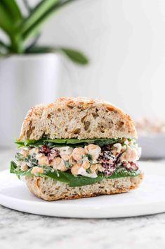 to Make Vegan Cranberry Chickpea Salad Sandwiches How to make vegan cranberry chickpea salad sandwiches.How to make vegan cranberry chickpea salad sandwiches. Lunch Recipes, Appetizer Recipes, Whole Food Recipes, Vegetarian Recipes, Cooking Recipes, Healthy Recipes, Vegetarian Sandwiches, Picnic Recipes, Sandwich Recipes