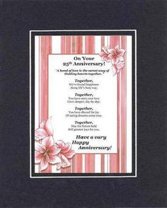 On Your 25th Anniversary Poem on 11x14 inches – GoodOldSaying.Com, Priceless Gifts -- PRICED Less!